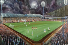 Leeds Road - Huddersfield Town v Man Utd 1970's - 20'' x 30'' Box Canvas